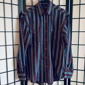 Wrangler VTG pearl snap button up shirt 15.5